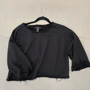 F21 Black Crop Top Sweater